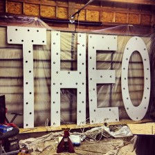 Theo signage from DJ Theo's set at the Paramount Theatre - Huntington, NY. (Source: @ivanroma)