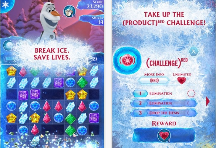 frozen free fall app product red