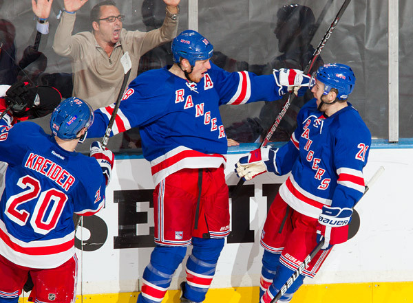 newest 83460 73a87 New York Rangers' Marc Staal and Chris Kreider at Steiner ...