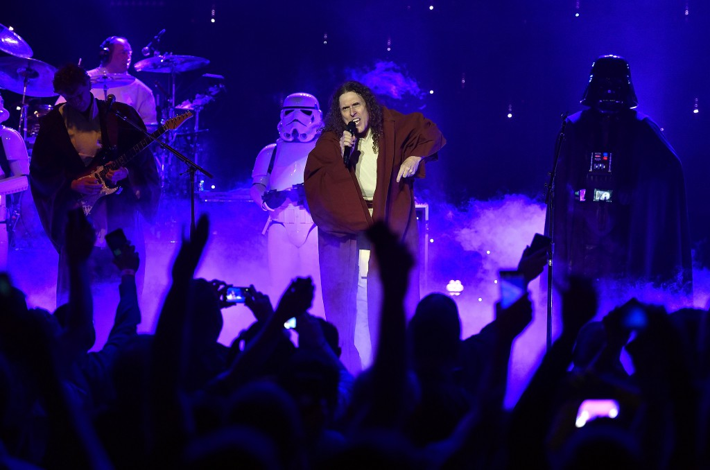"""Recording artist """"Weird Al"""" Yankovic performs in support of """"The Mandatory World Tour"""" at Planet Hollywood Resort and Casino on May 12, 2015 in Las Vegas, Nevada. *** Local Caption *** Al Yankovic"""